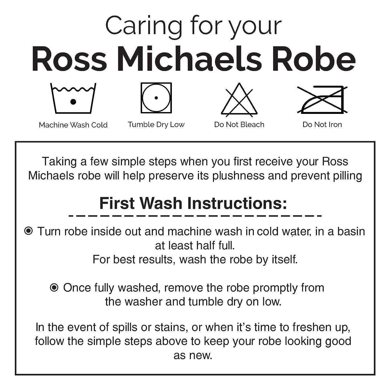 Ross Michaels Mens Hooded Two Tone Plush Shawl Kimono Bathrobe Robe (Navy    White c311d4425