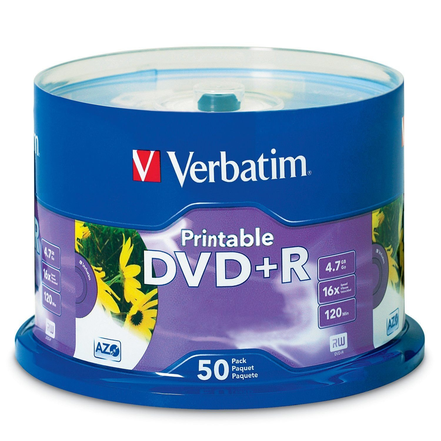 Verbatim 4.7GB up to 16x White Inkjet Printable Recordable Disc DVD+R, 50-Disc Spindle 95136
