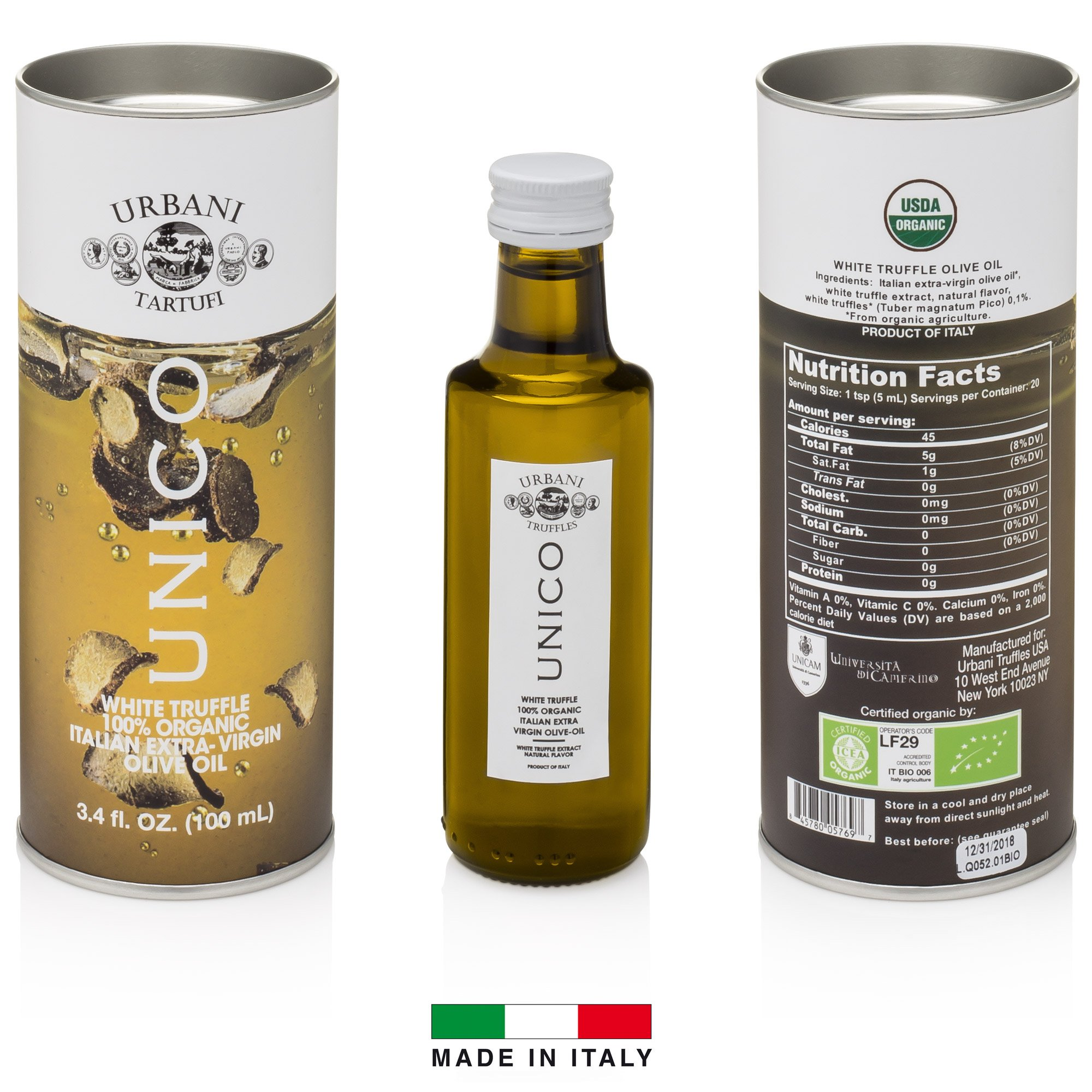 Italian White Truffle Extra Virgin Olive Oil - 3.4 Oz - by Urbani Truffles. Organic Truffle Oil 100% Made In Italy Without Chemicals And With Real Truffle Pieces Inside The Bottle. No Artificial Aroma by Urbani Truffles