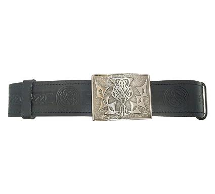 a39da992a6b TARTAN TWEEDS Nœud Celtique du Cuir gravé Kilt Boucle de Ceinture et - Noir  - S