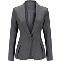 YYNUDA Chaqueta de mujer de manga larga para trabajo de oficina, chaqueta de un botón formal