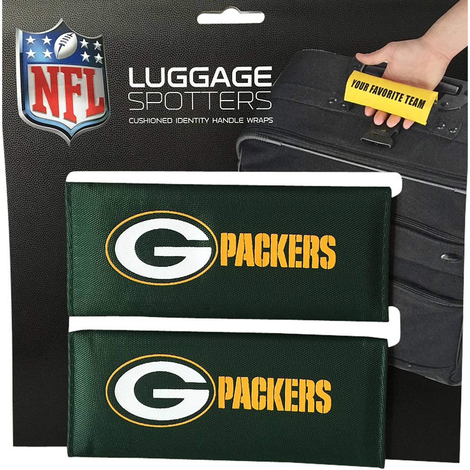 PACKERS Luggage Spotter Suitcase Handle Wrap Bag Tag Locator with I.D 50/% OFF CLOSEOUT Pocket THEY ARE SELLING OUT FAST! 2-PACK