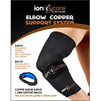 """Elbow Support System with Copper Compression Elbow Support Sleeve and Elbow Brace. Lightweight, Anti-Slip, for Tennis or Golfers Elbow Pain. Large: 12.5"""" - 14"""""""