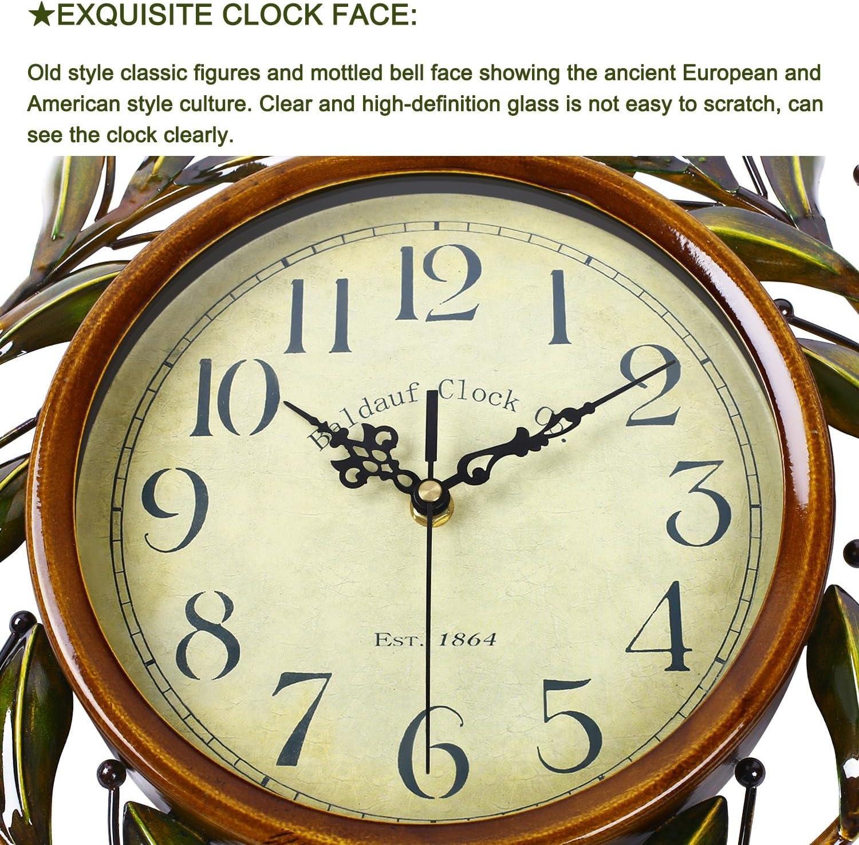 Horloge Murale en Fer Technologie Cadre Rond SOLEDI Mod/èle de la Branche dOlivier Horloge Murale R/étro Europ/éen Mur D/écoration