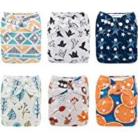 Babygoal Baby Cloth Diapers,Reusable Washable Pocket Nappy 6pcs+6 Inserts+4pcs 4-layer Bamboo Inserts,Girl color 6FG10-CA