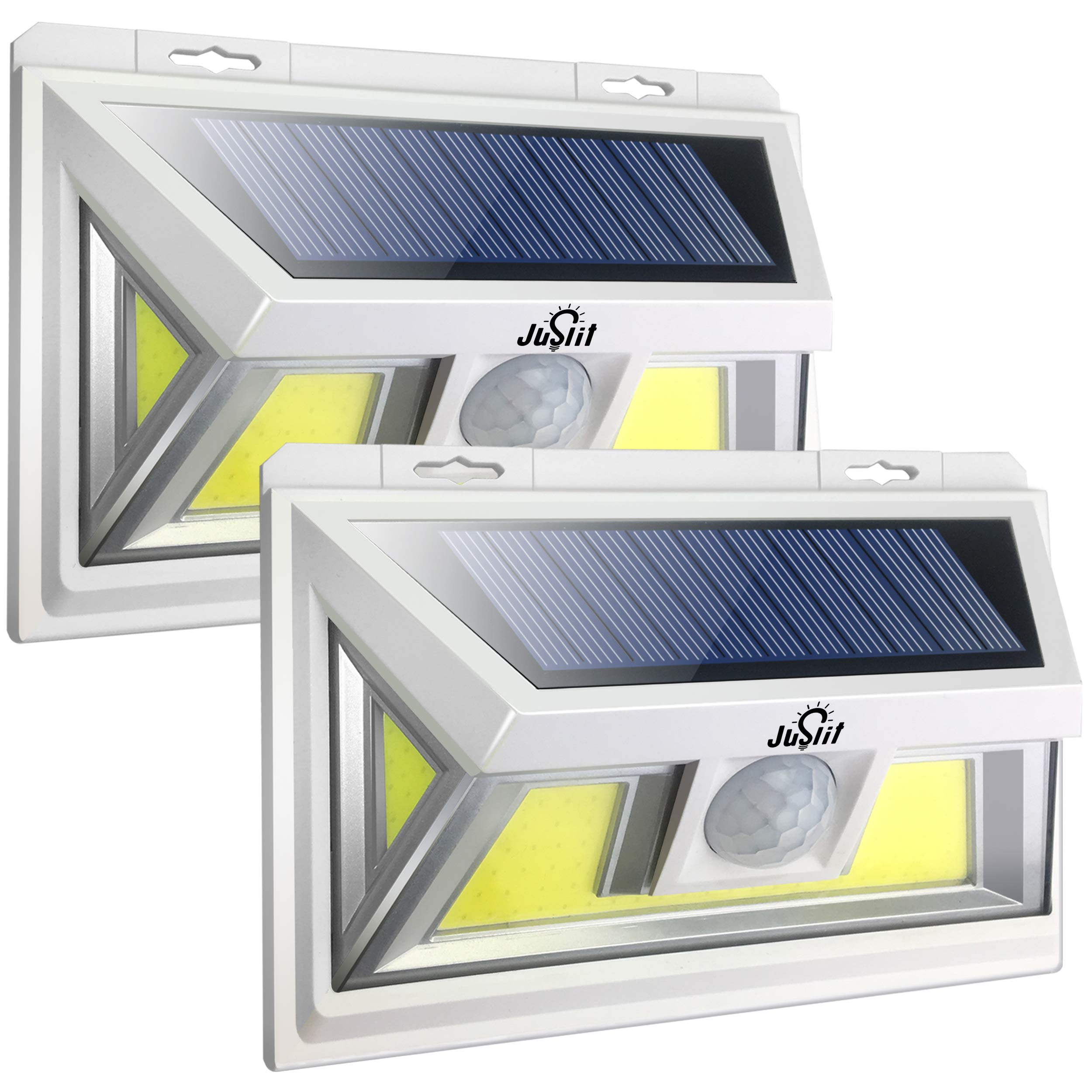 JUSLIT Motion Sensor Outdoor 74 Light Sources COB LED Solar Light, Super Bright, with Wider-Angle Lighting Panel, Wireless Waterproof Security Lights for Garage, Pathways, Backyard(2PK) by JUSLIT