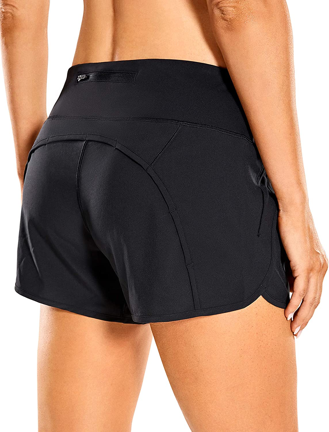 CRZ YOGA Women's Quick-Dry Athletic Sports Running Workout Shorts with Zip Pocket - 4 Inches