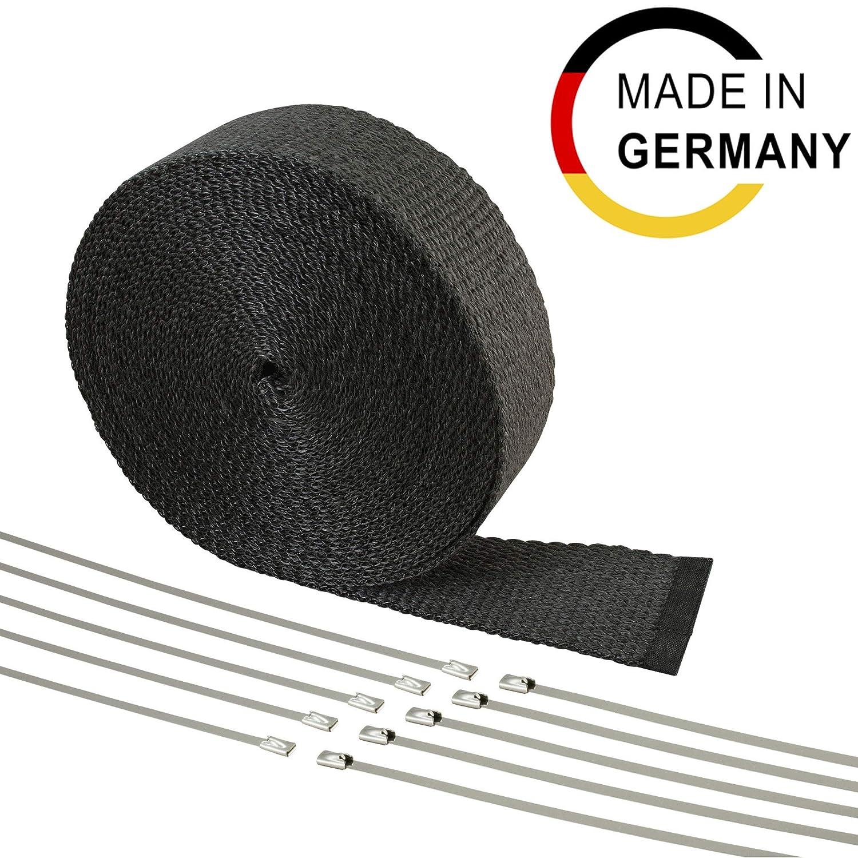 10m Fiberglas Hitzeschutz Band - 50mm breit - Hergestellt in Deutschland - schwarz DL-Racing