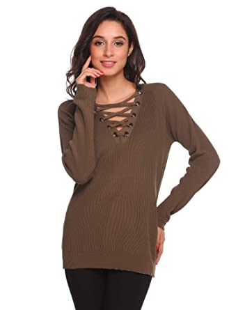 61807bc4b2 ELESOL Women s Long Sleeve Deep V Neck Sweater Loose Fit Tunic Tops Brown S