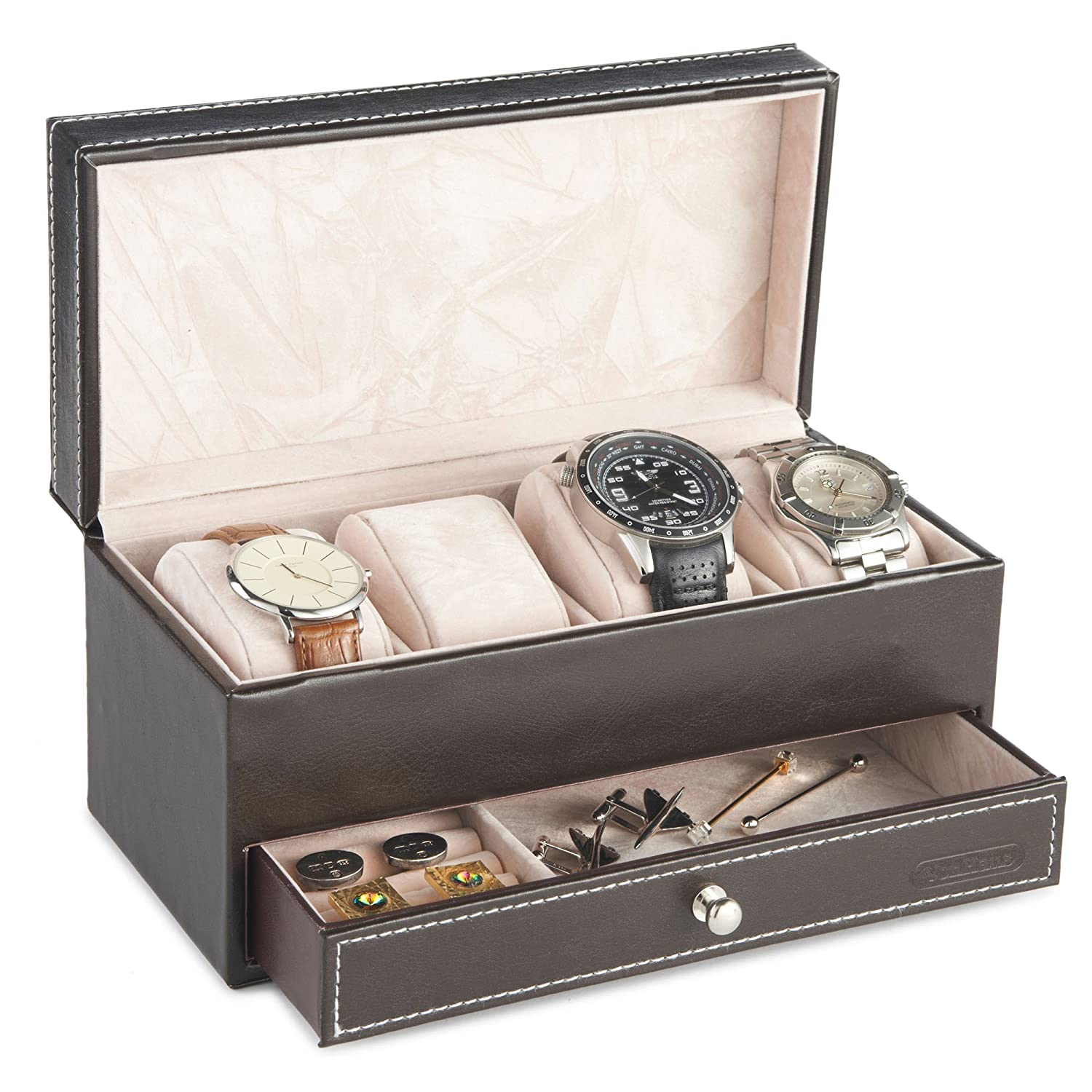 VonHaus 4 Watch And Cufflink Display Box With Drawer | Brown Faux Leather:  Amazon.co.uk: Watches