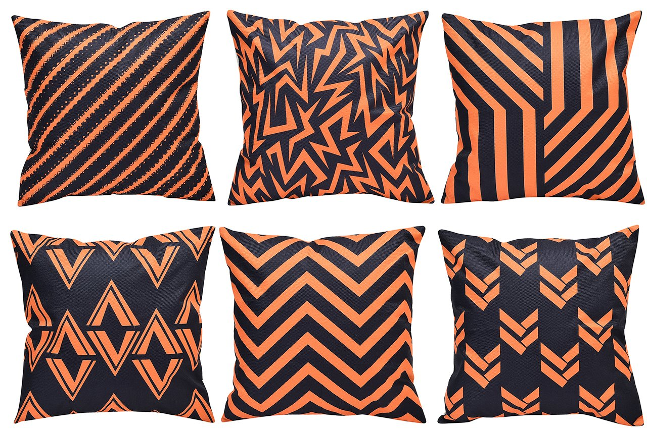 Yiny Modern Geometric Style Durable Orange and Black Cotton Linen Square Decorative Throw Pillows Cushion Covers Cases Pillowcases for Chair Sofa Bed Car Office Home 18 x 18 inch Set of 6