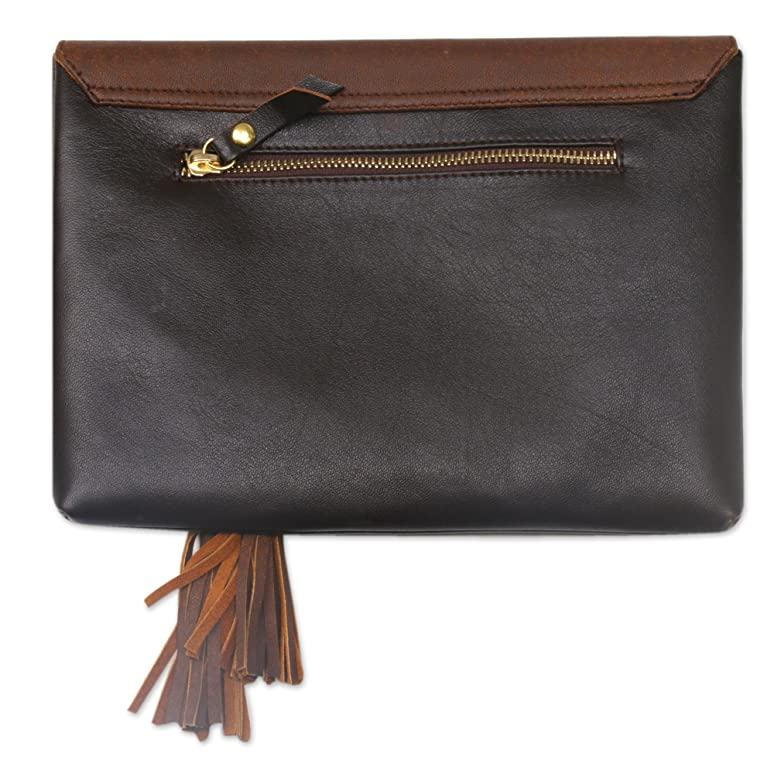 Novica Leather clutch bag, Finesse - Hand Made Leather Clutch Handbag