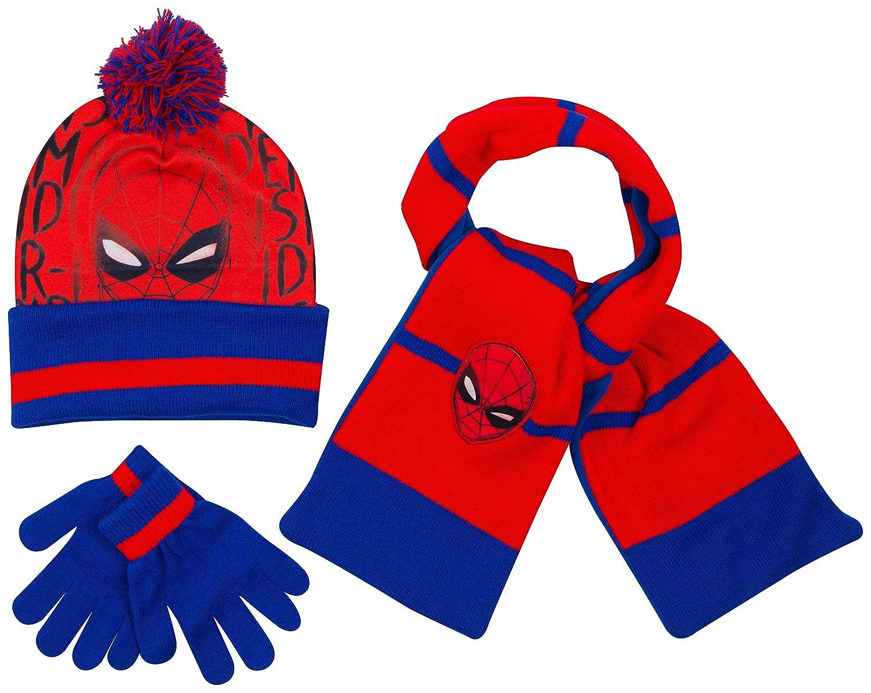 Marvel Spiderman Boys Set Hat Scarf and Gloves Winter