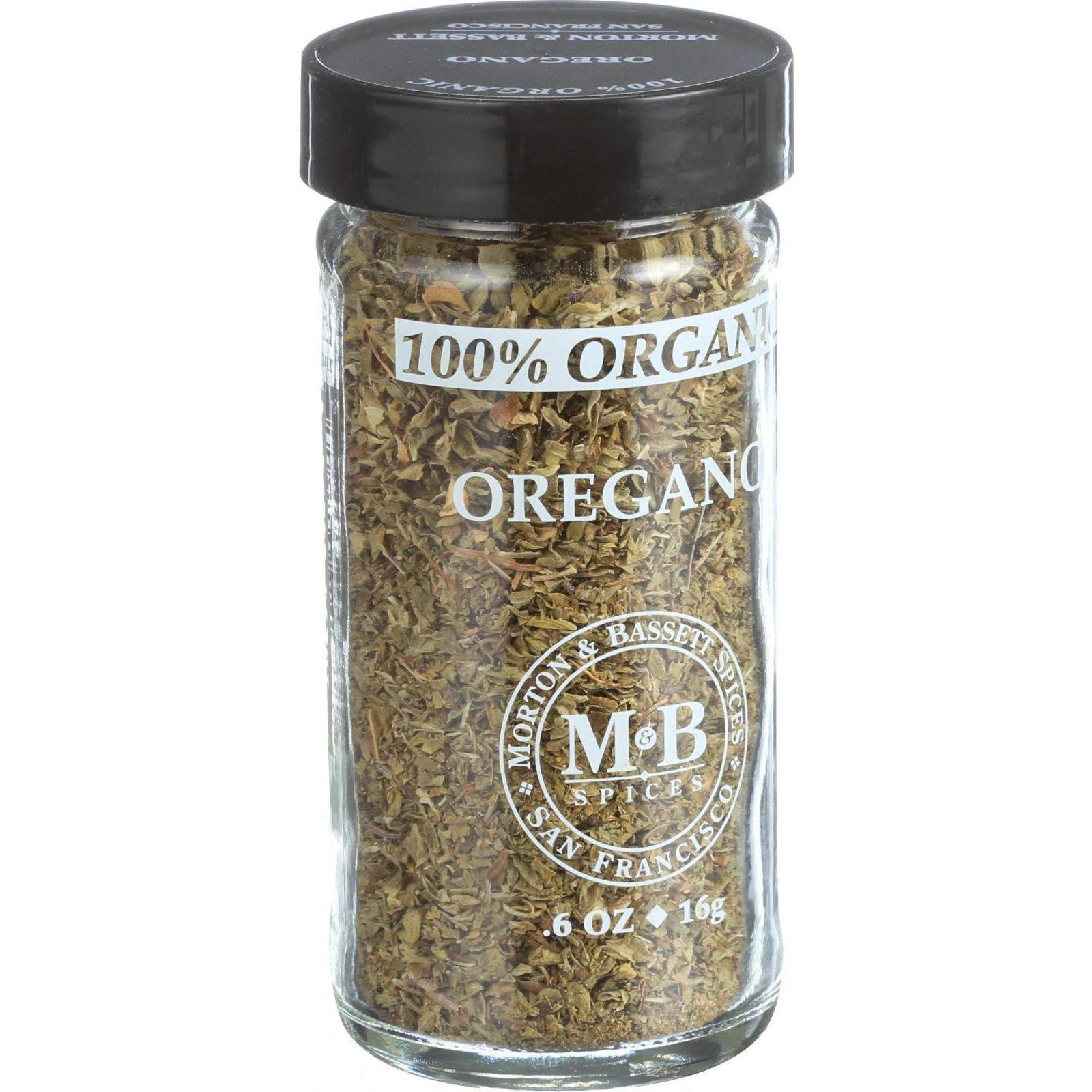 Morton and Bassett 100% Organic Seasoning - Oregano - .7 oz - Case of 3