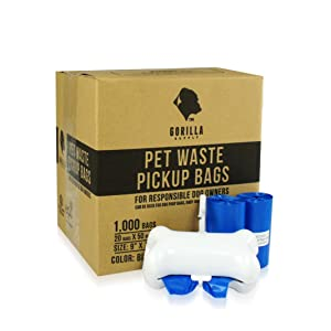 Gorilla Supply 1000 Blue Dog Pet Poop Bags