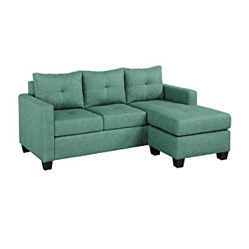 Terrific Homelegance Phelps 78 X 58 Fabric Reversible Chaise Sofa Teal Gmtry Best Dining Table And Chair Ideas Images Gmtryco