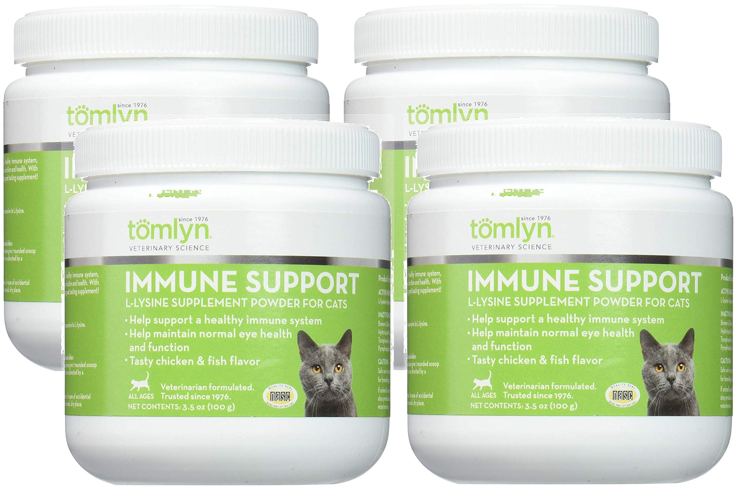 Tomlyn Scientifics L-Lysine Health Supplement Powder for Cats, 100gm Jars (4 Pack) by TOMLYN