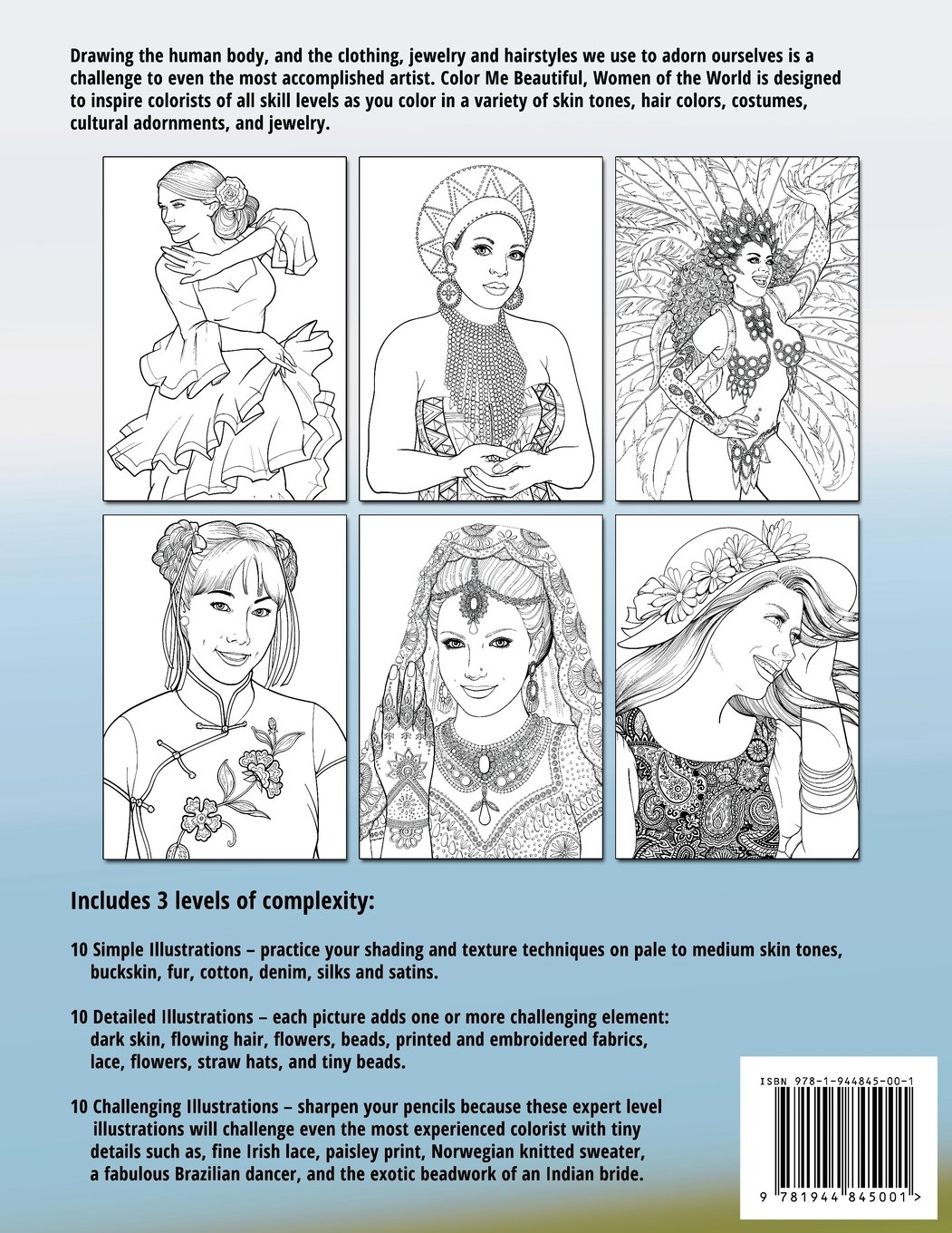 amazon com color me beautiful women of the world coloring