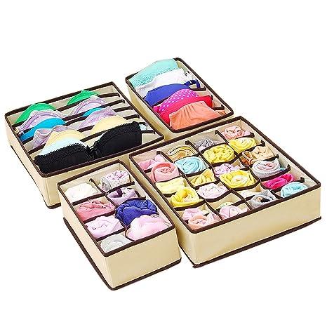 Amazon.com: Chiffoned 4PCS Storage Boxes For Ties Socks Shorts Bra Underwear Divider Drawer Lidded Closet Organizer Ropa Interior Organizador,6 grids: Home ...