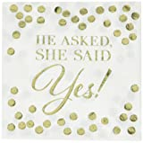 He Asked, She Said Yes Hot Stamped Beverage Napkins
