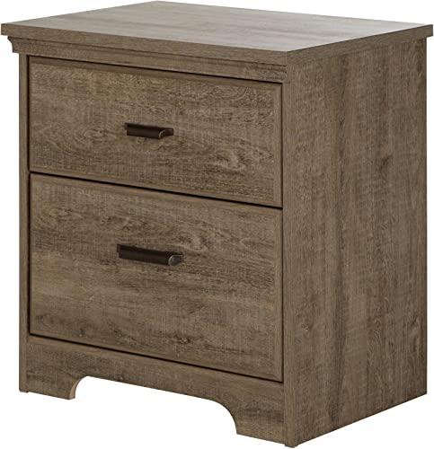 South Shore Versa 2 Drawer Wood Nightstand in Weathered Oak