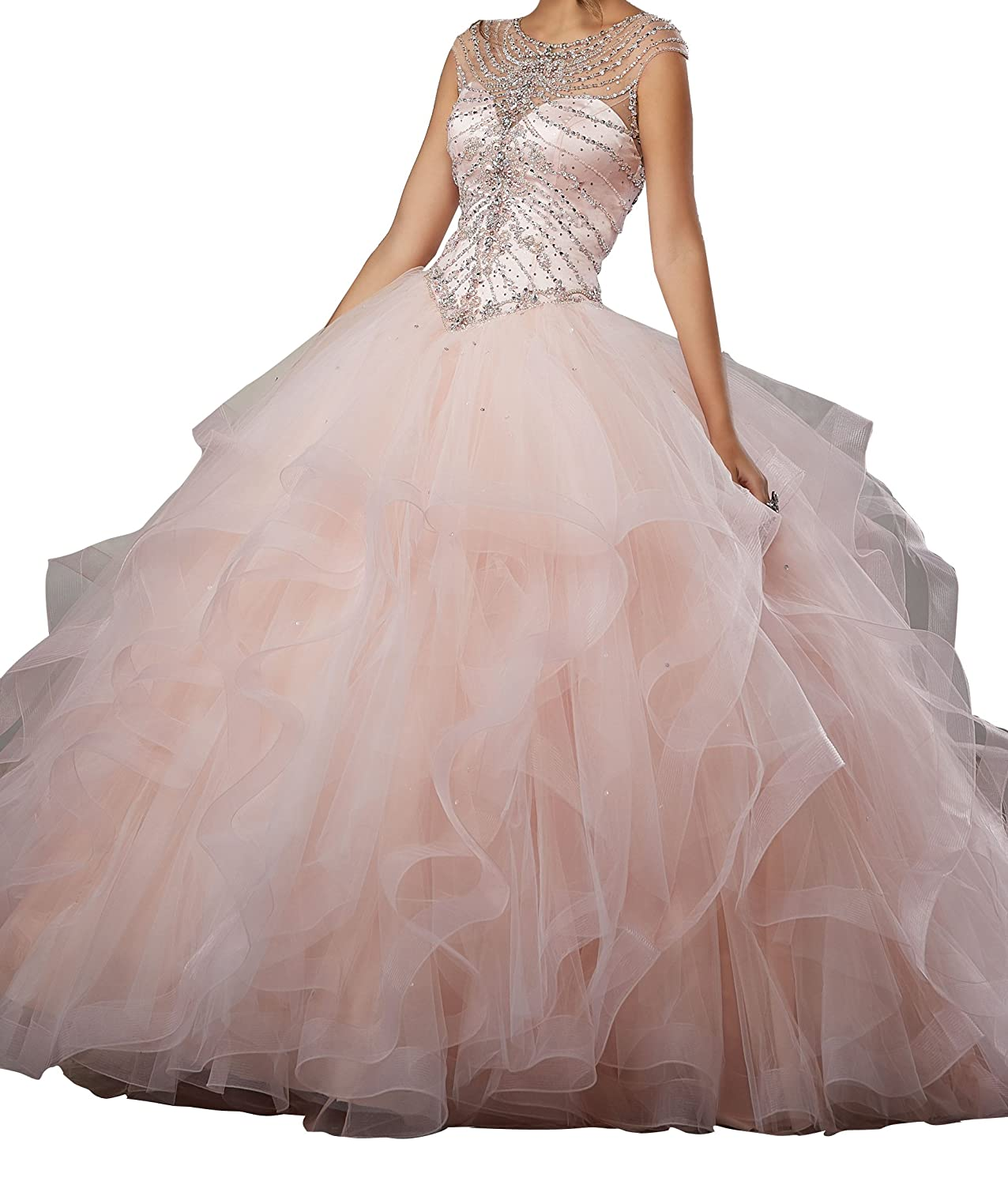 d4d3e308bd DengFeng Women s Illusion Neckline Beaded Rhinestones Prom Party Sweet 15  Quinceanera Dresses at Amazon Women s Clothing store