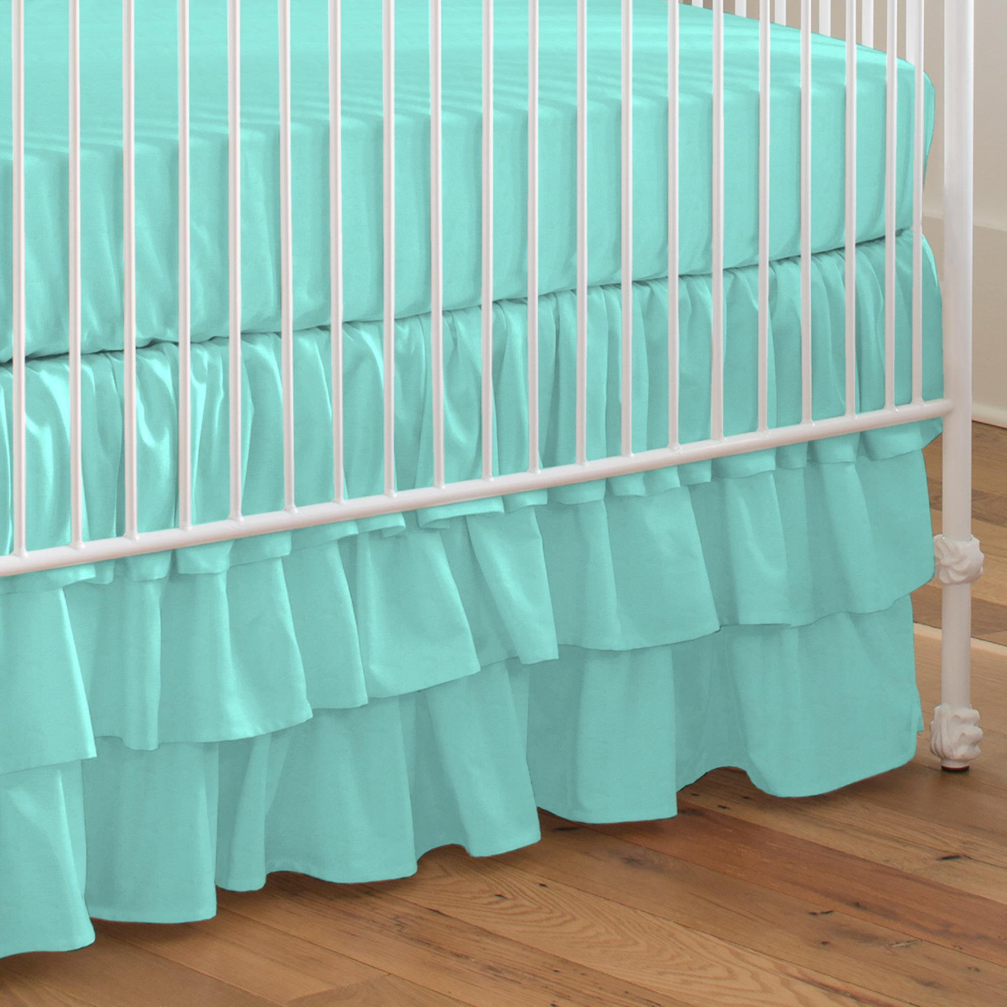 Carousel Designs Solid Teal Crib Skirt Three Tier 18-Inch Length