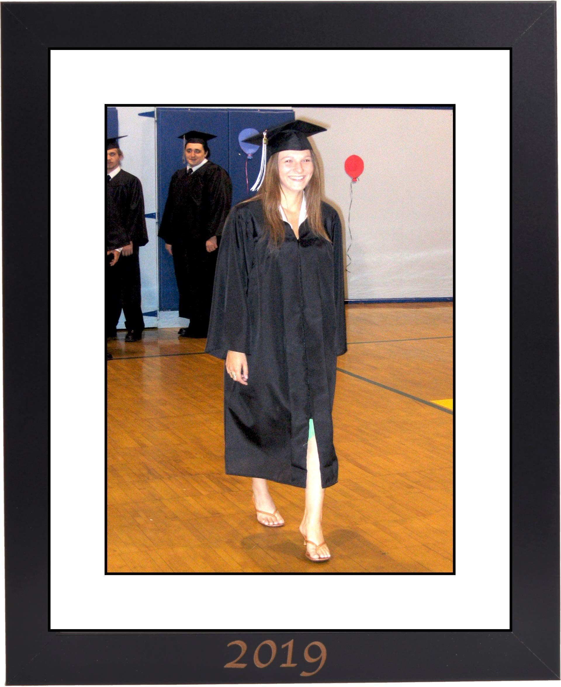 CreativePF [11x14bk] 2019 Black Graduation Frame with 11x14-inch White Mat Holds 8.5x11-inch Photo Media, with Stand and Installed Hangers
