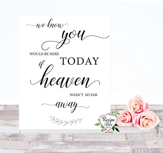 picture regarding We Know You Would Be Here Today Free Printable called Marriage Signal 5x7, We notice yourself would be in this article currently if Heaven wasnt thus significantly absent