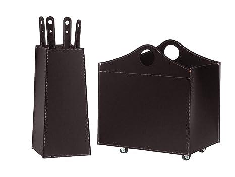 BOCAD: Set para chimenea y estufas en cuero de color Marrón Oscuro compuesto por Porta
