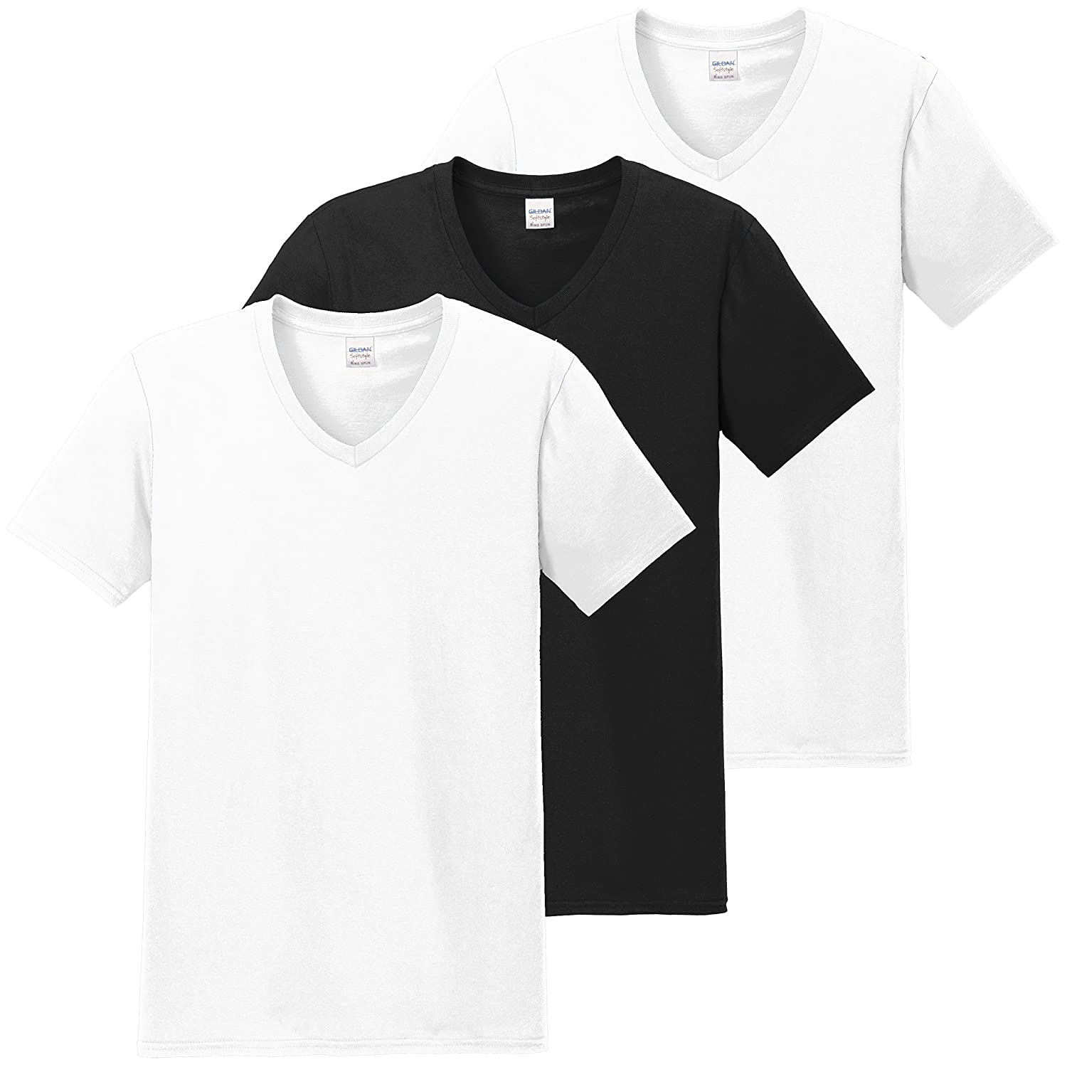 Hanes Classics V-neck Crew T-shirt Big 2 White and 1 Black 2 White 1 Black)