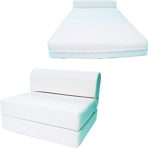 Chair Folding Foam Bed, Studio Sofa Guest Folded Foam Mattress 6 x 48 x 72 , White