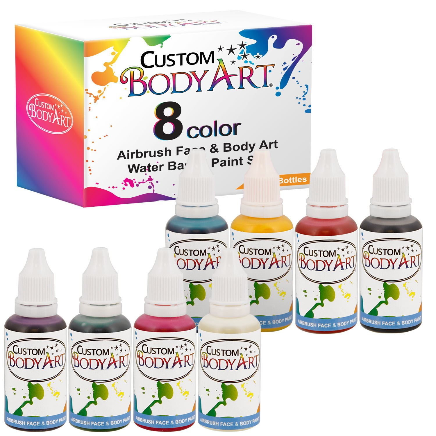 Custom Body Art 1-oz 8 Color Primary AirbrushWater Base Face-Body Paint Set 4336967399