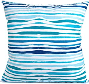 Arundeal Decorative Throw Pillow Case Cushion Cover, Double Sided 18 x 18 Inches Aqua Lines Ocean Beach Blue Wave Striped, for Bed Sofa Couch Decor