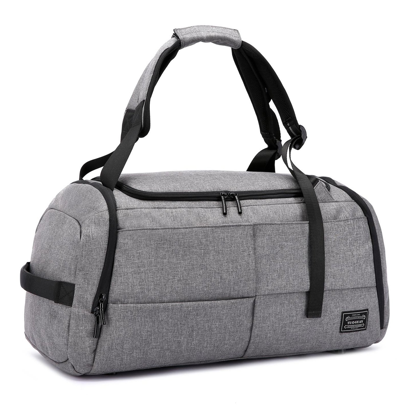 3 Way Gym Sports Bag with Shoe Copartment Foldable Travel Duffel Backpack Canvas Holdall for Men Women