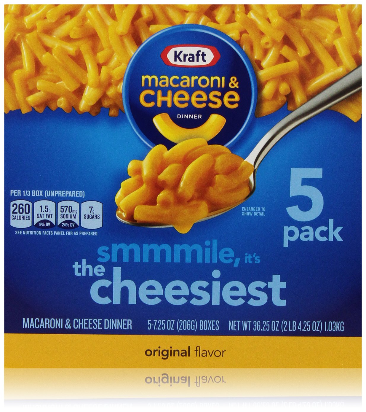 Kraft Original Flavor Macaroni and Cheese Meal (7.25 oz Boxes, Pack of 5)