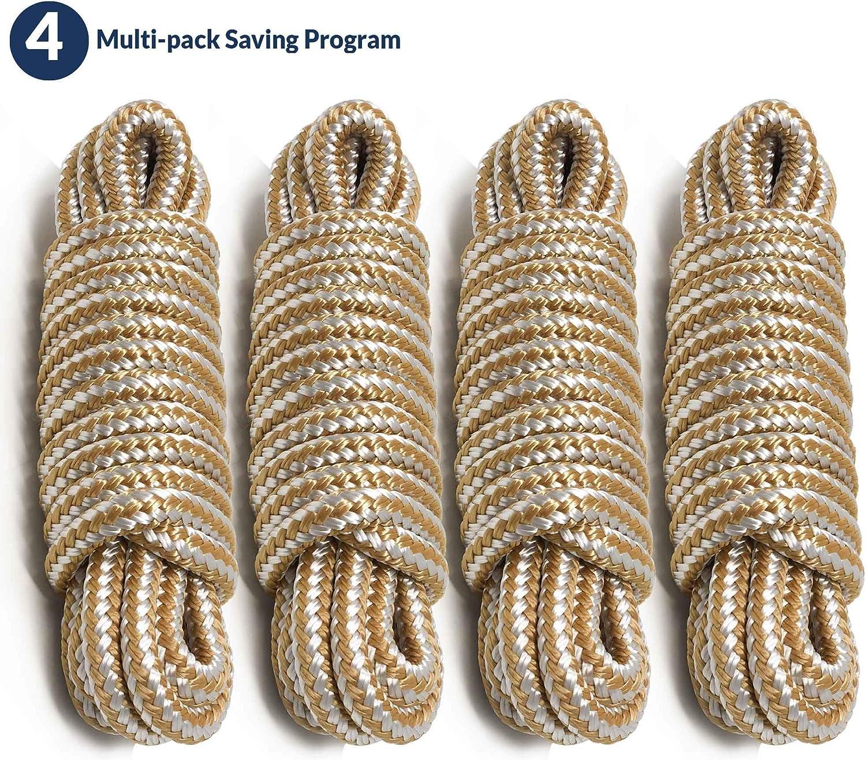 "Premium Boat Marine Nylon Double Braid Dock Line 3//8/"" x 15/' Gold White"
