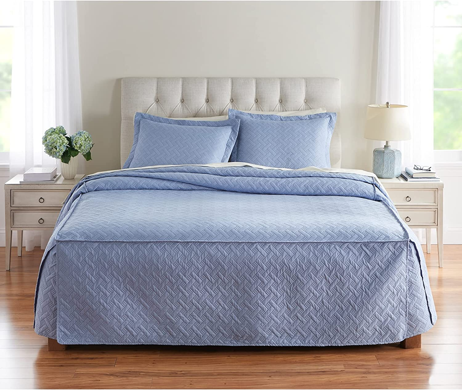 BrylaneHome Pinsonic Fitted Bedspread - Full, Slate Blue