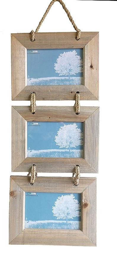 Marco de fotos colgante triple para fotos en horizontal, de madera, con diseño rústico, de 10 x 15,5 cm