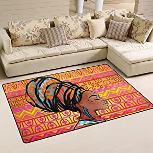 Yochoice Non-slip Area Rugs Home Decor, Vintage Colorful African Ethnic Black Girl Floor Mat Living Room Bedroom Carpets Doormats 60 x 39 inches