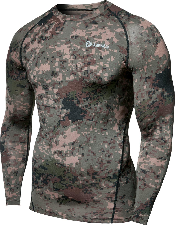 (テスラ)TESLA オールシーズン 長袖 ラウンドネック スポーツシャツ [UVカット吸汗速乾] コンプレッションウェア パワーストレッチ アンダーウェア R11 / MUD01 / MUD11 B01ER2V1BI  TM-R11-PCKZ M