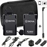 Wireless Microphone Lavalier for Smartphone Camera GoPro, BOYA BY-WM2G Mic for iPhone 11 10 X 8 8 Plus 7 6,Canon 6D 600D Nikon D800 D3300 Sony A7 A9 DSLR GoPro Hero4 Hero3 Hero3+ Action Cameras
