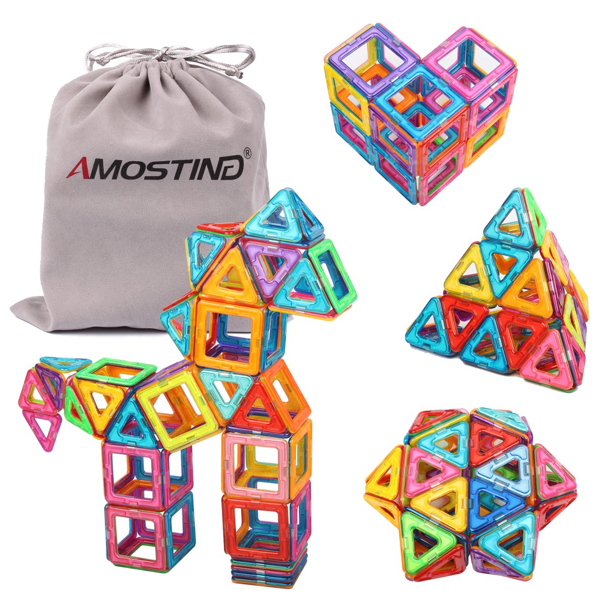 df6c7a1a1b2 Amazon.com  idoot Magnetic Tiles Building Blocks Set Educational Toys for  Kids with Storage Bag - 64pcs  Toys   Games
