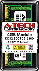 A-Tech 4GB DDR2 800MHz SODIMM PC2-6400 1.8V CL6 200-Pin Non-ECC Unbuffered Laptop RAM Memory Upgrade Module