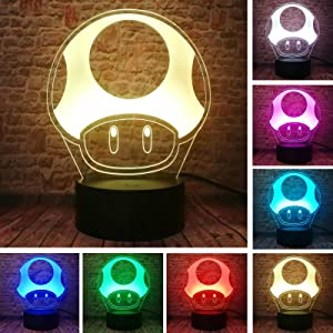 Fanrui Cute Game Super Mario Toad 1 Up Mushroom Table Lamp - Smart 7 Color Change LED Night Light Child Boys Bedroom Sleeping Home Decor- Kids Man Friends Xmas Birthday Holiday New Year Toys