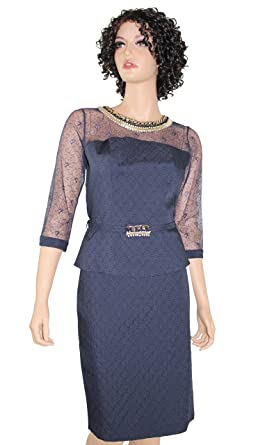 Amazon Com Bluz Lace Belted Womens Business Suit Navy Blue Dress
