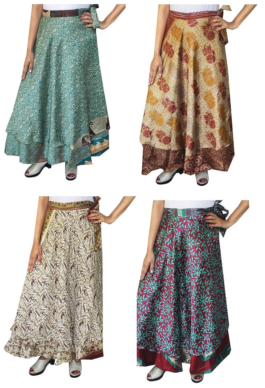 Maple Clothing Wholesale 4 Pcs Lot Two Layers Indian Sari Magic Wrap Around Skirts mpl-magicskt36-4p