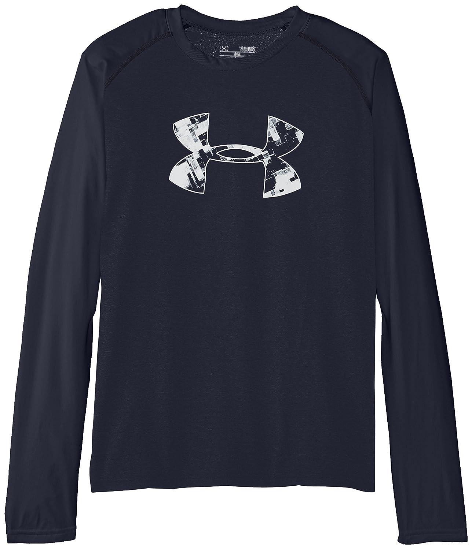 Under Armour Youth Boys Tech Long Sleeve Shirt, Anthracite/Glacier Gray, Medium