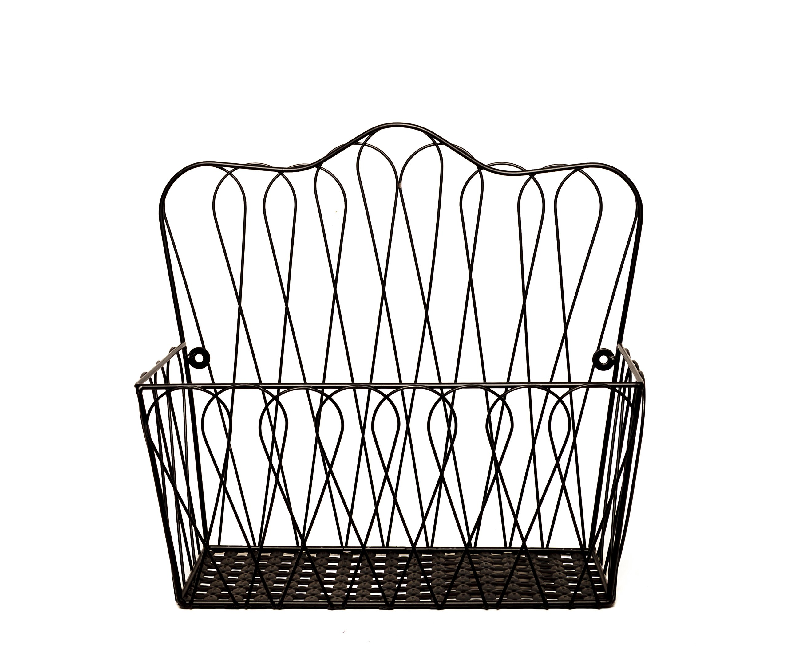 JMiles UH-HB236 Wall Mount Wire Basket for Magazines, Wire Loop design - Wall Mounted or Freestanding Countertop Storage Basket for Paperwork, Fruits and Veggies, and more
