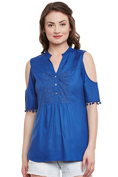 4f2f0c73bf1 THE VANCA Women's Cold Shoulder Top with Lace Panels and Band Collar  Neckline: Amazon.in: Clothing & Accessories